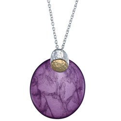 Crystale Two-tone Genuine Amethyst Oval Necklace