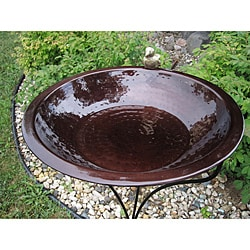 Copper Finish Round In-Ground Birdbath