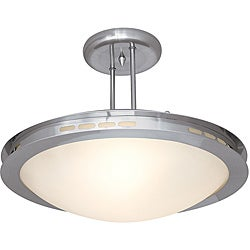 Eros Brushed Steel Opal Glass Semi-flush Light