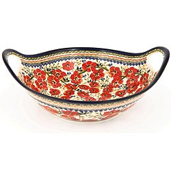 Polish Stoneware Pottery 13.5-inch Handled Serving Bowl