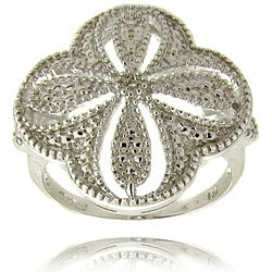 Sterling Silver Diamond Accent Flower Ring