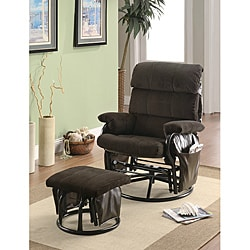 Dark Brown Swivel Rocker Glider Recliner Chair with Ottoman