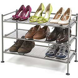 Seville Classics Platinum-accented Three-tier Iron Utility Shoe Rack