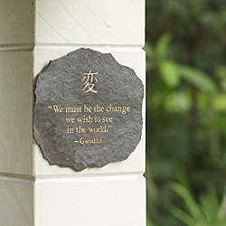 Volcanic Slate 'We must be the Change' Engraved Plaque