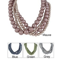 Roman Colored Faux Pearl 4-piece Necklace
