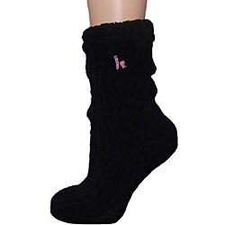 Women's Lavender-Infused Black Chenille Socks