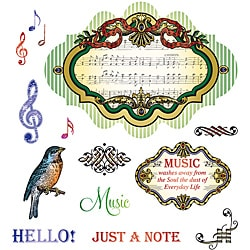 JustRite Stampers Musical Notes Cling Stamps (Set of 14)
