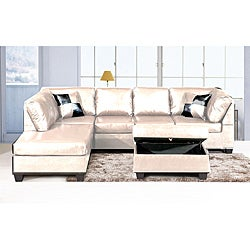 Jingo Faux Leather Ivory 3-piece Sectional Sofa Set