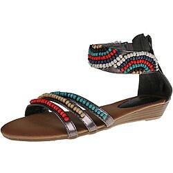 Refresh by Beston Women's 'Tokyo-03' Pewter Beaded Sandals