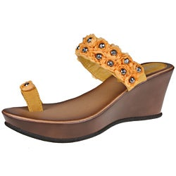 Refresh by Beston Women's 'Summer-01' Yellow Wedge Sandals