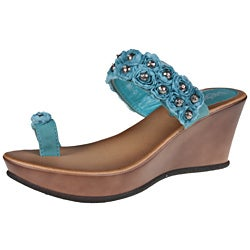 Refresh by Beston Women's 'Summer-01' Turquoise Wedge Sandals