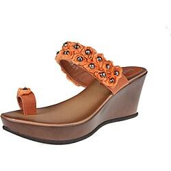 Refresh by Beston Women's 'Summer-01' Orange Wedge Sandals