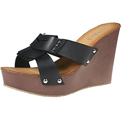 Refresh by Beston Women&#39;s &#39;reika-05&#39; Black Fringe Wedges