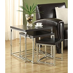 Cappuccino Chrome Finish Nesting Side End Tables (Set of 3)