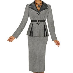 Divine Apparel Women's Faux Leather 2-piece Belted Skirt Suit