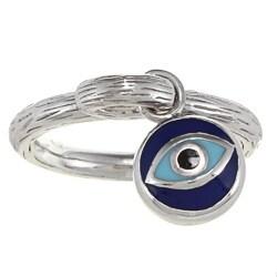 Sterling Silver 1/6ct TDW White and Blue Diamond Eye Ring (J-K, I2-I3)
