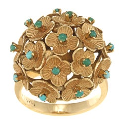 18k Yellow Gold Floral Turquoise Estate Ring