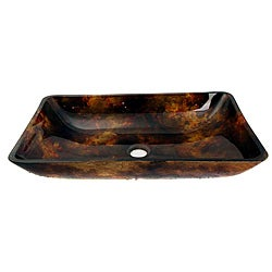 Glass Orange/ Black Sink Bowl