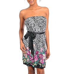 Stanzino Women's Floral Animal-print Belted Strapless Dress