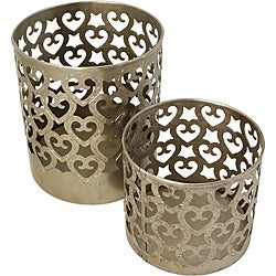 Set of 2 Hand Beaten Iron Votive Candle Holders (India)
