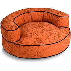 Crypton 'Bed of Roses' Orange 44-Inch Bolster Dog Bed