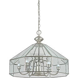 Six Light Satin Nickel Chandelier