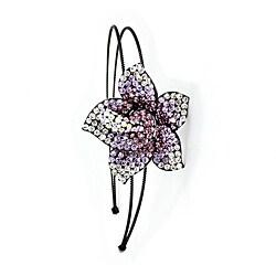 Kate Marie Purple Floral Headband with Swarovski Rhinestones
