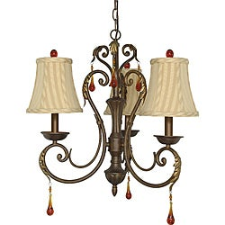 Nuvo Lighting 'Cortina Chandelier' Dune Gold 3-light Chandelier