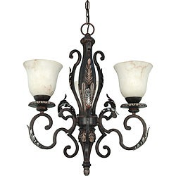 Cipriani Chandelier 3-light Garnet Bronze Finish with Marbleized Glass