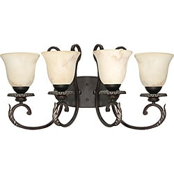 Cipriani Vanity and Wall 4-light Garnet Bronze Finish with Marbleized Glass
