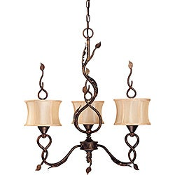 Trellio Chandelier 3-light Autumn Gold Finish with Beige Shantung Shades