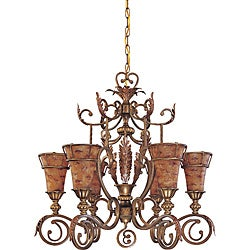 Marmount Chandelier 6-light Antique Gold Finish with Art Nouveau Glass