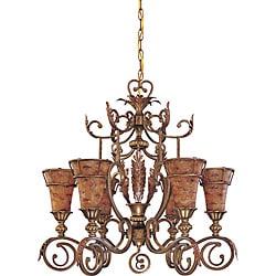 Marmount Chandelier 6-light Antique Gold Finish with Art Nouveau Glass