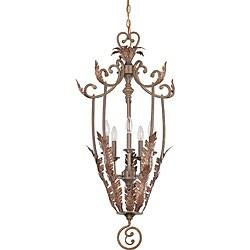 Marmount Pendant 5-light Antique Gold Finish with Art Nouveau Glass