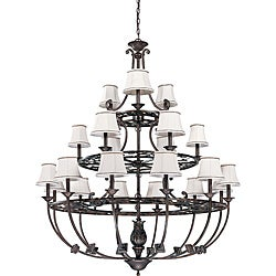 Pickford Chandelier 21-light Distressed Bronze Finish with Natural Linen Shades