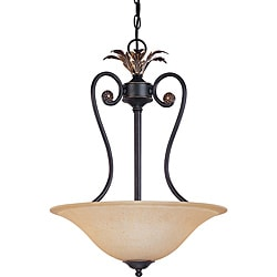 Francesca Pendant 3-light Rustic Bronze Finish with Tangerine Peel Glass