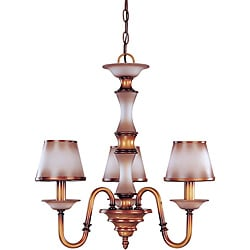 Cornelia Chandelier 3-light Newport Copper Finish with Autumn Haze Glass