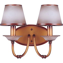 Cornelia Vanity and Wall 2-light Newport Copper Finish with Autumn Haze Glass