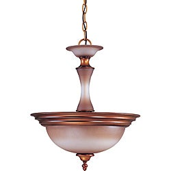 Cornelia Pendant 2-light Newport Copper Finish with Autumn Haze Glass