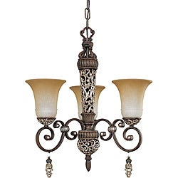 Palermo Chandelier 3-light Cappuccino Finish with Amaretto Glass