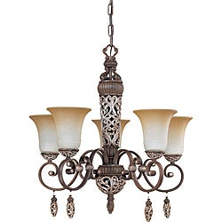Palermo Chandelier 5-light Cappuccino Finish with Amaretto Glass