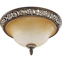 Palermo Flush Mount 15.75-inch Cappuccino Finish with Amaretto Glass