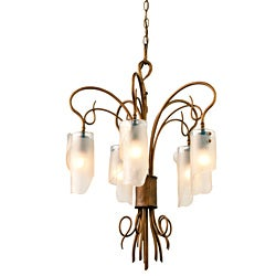 Soho 5-light Brown Hammered Ore Ice Glass Chandelier