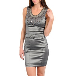 Stanzino Women's Silver Belted Bejeweled Dress