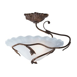 Transitional 1-light Antique Iron Semi Flush Fixture