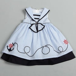 Donita Toddler Girls Light Blue Sailor Collar Nautical Dress
