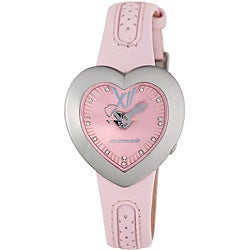 Chronotech Children's Pink Leather Heart-shaped Rhinestone Watch
