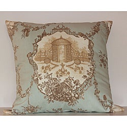 Garden Pleasure Robin's Egg Blue / Taupe Toile Decorative Pillow