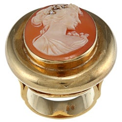 18K Gold 1/10ct TDW Diamond Antique Cameo Estate Ring (H-I, SI1-SI2)