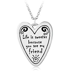 Chuvora Silver 'Life is Sweeter' Heart Necklace